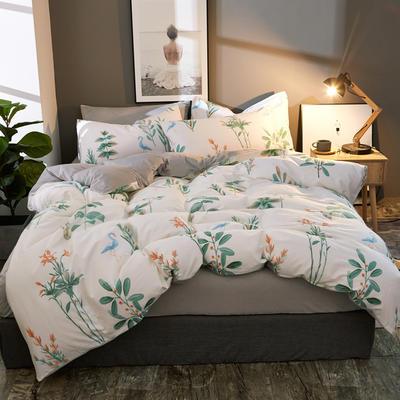 棉加绒四件套A版全棉130*70  B版190克水晶绒 1.5m(5英尺)床 叶蔓蔓