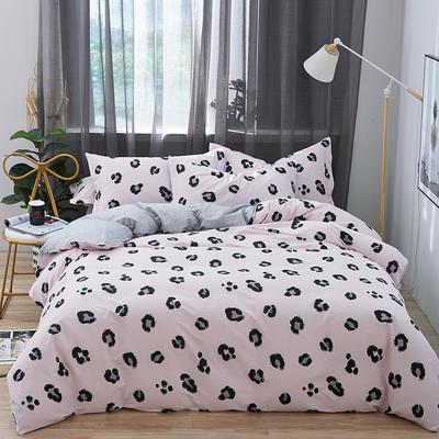 罗优家纺 春夏新款13372全棉活性印花四件套 1.2m(4英尺)床 豹纹芭比-红