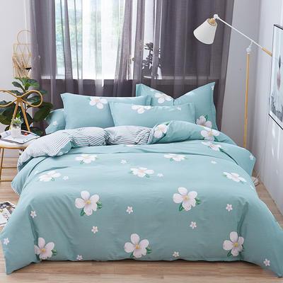 罗优家纺 春夏新款13372全棉活性印花四件套 1.2m(4英尺)床 朵拉花园-兰