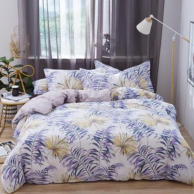 罗优家纺 春夏新款13372全棉活性印花四件套 1.2m(4英尺)床 蕉叶
