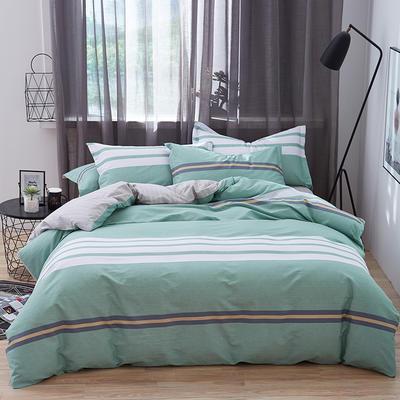 罗优家纺 春夏新款13372全棉活性印花四件套 1.2m(4英尺)床 时尚秀场-绿