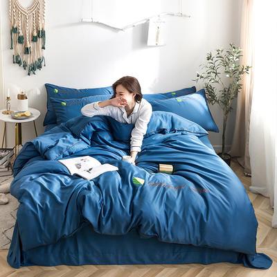 罗优家纺 2019纯色天丝四件套绣花水洗真丝四件套素色 1.5m(5英尺)床 宝石蓝