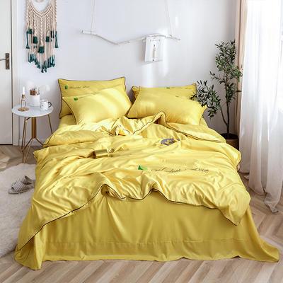 罗优家纺 2019纯色天丝四件套绣花水洗真丝四件套素色 1.5m(5英尺)床 典雅黄