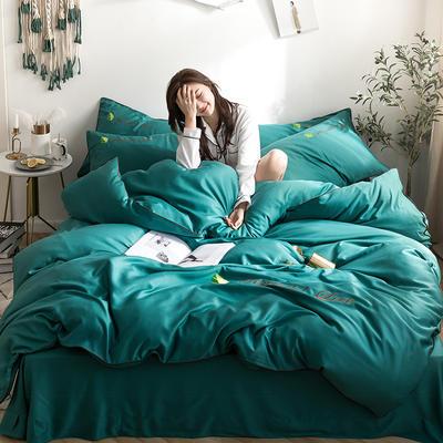 罗优家纺 2019纯色天丝四件套绣花水洗真丝四件套素色 1.2m(4英尺)床 孔雀绿