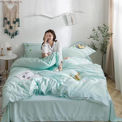 罗优家纺 2019纯色天丝四件套绣花水洗真丝四件套素色 1.5m(5英尺)床 水绿色