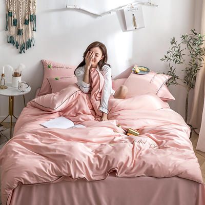 罗优家纺 2019纯色天丝四件套绣花水洗真丝四件套素色 1.5m(5英尺)床 胭脂粉