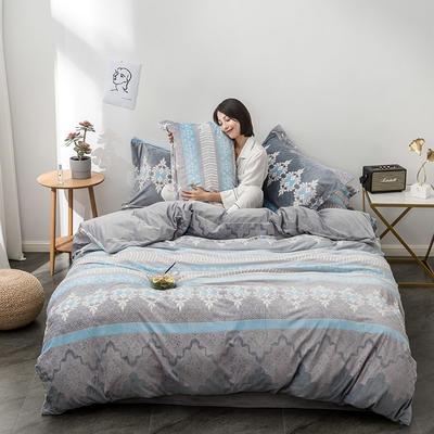 2019新款终版-7D雕花绒四件套 1.5-1.8m床单款 简约风情-灰蓝