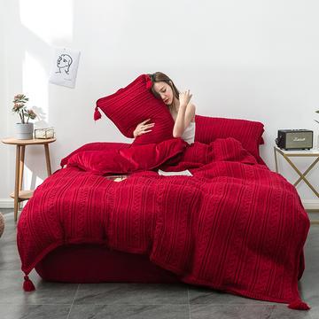 2019新品加厚保暖轻奢针织毛线宽边+毛球四件套水晶绒牛奶绒金貂绒1.5床1.8床