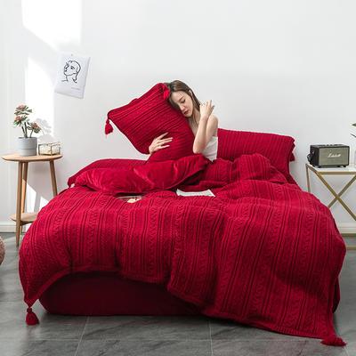 2019新品加厚保暖轻奢针织毛线宽边+毛球四件套水晶绒牛奶绒金貂绒1.5床1.8床 1.5-1.8m床单款 针织-酒红