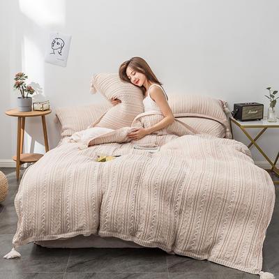 2019新品加厚保暖轻奢针织毛线宽边+毛球四件套水晶绒牛奶绒金貂绒1.5床1.8床 1.5-1.8m床单款 针织-卡其