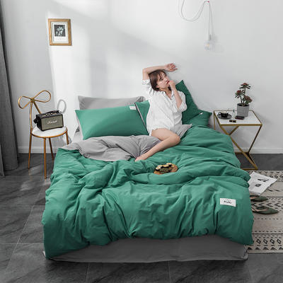 2020新款玻尿酸全棉水洗棉四件套 1.5m床单款 孔雀绿浅灰