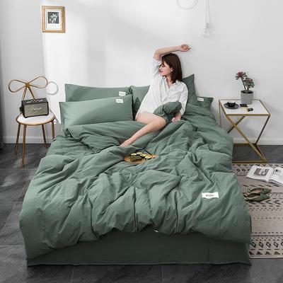 2020新款玻尿酸全棉水洗棉四件套 1.5m床单款 墨绿