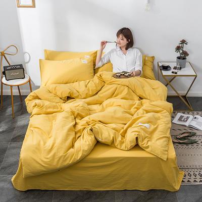 2020新款玻尿酸全棉水洗棉四件套 1.5m床单款 绅士黄