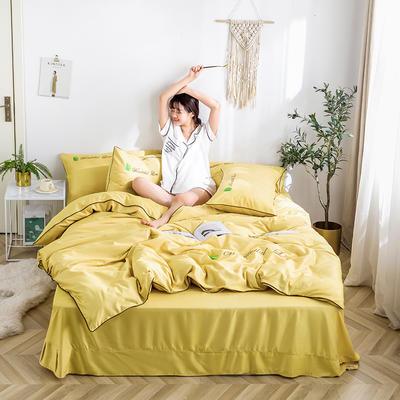 2020新款纯色天丝四件套 1.2m床单款三件套 典雅黄