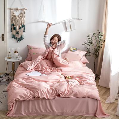 2020新款纯色天丝四件套 1.5m床单款四件套 胭脂粉