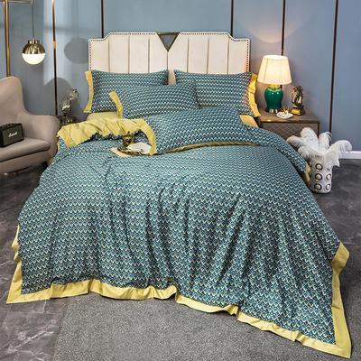 2020新款水洗天丝棉绸四件套 1.5m床单款 梦之羽-黄