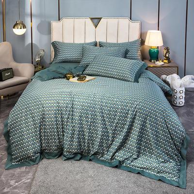 2020新款水洗天丝棉绸四件套 1.5m床单款 梦之羽-绿