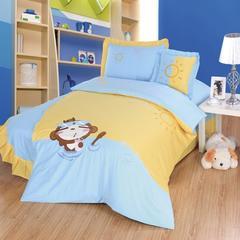 罗优家纺 全棉卡通贴布绣花儿童四件套-快乐小熊 1.2m(4英尺)床 乖乖猴