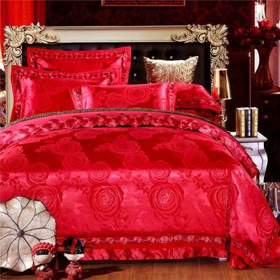 罗优新品花边款麻赛尔贡缎提花四件套 1.8m(6英尺)床 华丽红妆(大红)