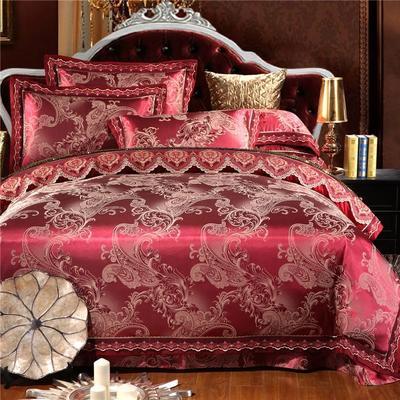 罗优新品花边款麻赛尔贡缎提花四件套 1.8m(6英尺)床 锦色奢华 酱红