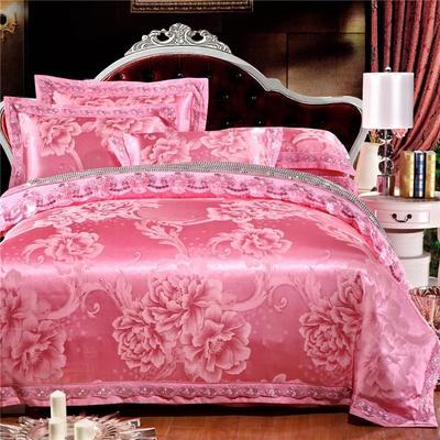 罗优新品花边款麻赛尔贡缎提花四件套 1.8m(6英尺)床 盛世花舞 粉