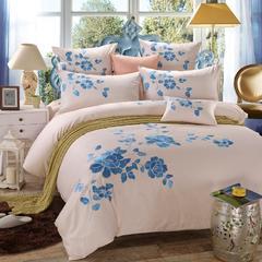 罗优家纺全棉刺绣绣花四件套田园风被套床单床上用品 中国风 1.8m(6英尺)床 米兰