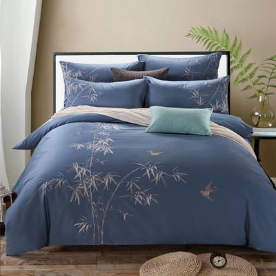 罗优家纺全棉刺绣绣花四件套田园风被套床单床上用品 竹韵 1.5m(5英尺)床 竹韵