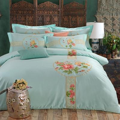罗优家纺全棉刺绣绣花四件套田园风被套床单床上用品 竹韵 1.5m(5英尺)床 中国风