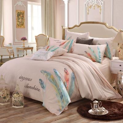 罗优家纺全棉刺绣绣花四件套田园风被套床单床上用品 竹韵 1.5m(5英尺)床 妩媚