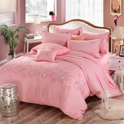 罗优家纺全棉刺绣绣花四件套田园风被套床单床上用品 竹韵 2.2m(7英尺)床 唯美