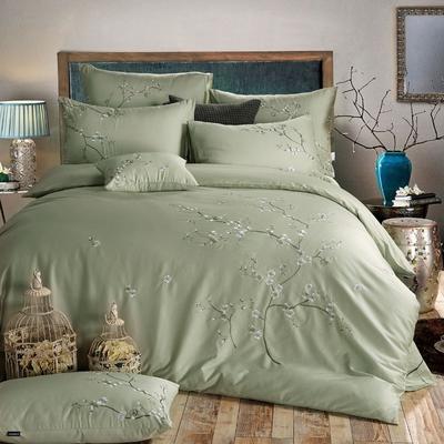 罗优家纺全棉刺绣绣花四件套田园风被套床单床上用品 竹韵 1.5m(5英尺)床 芳菲