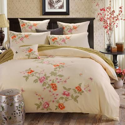 罗优家纺全棉刺绣绣花四件套田园风被套床单床上用品 竹韵 1.8m(6英尺)床 碟影