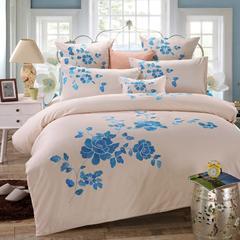罗优家纺全棉刺绣绣花四件套田园风被套床单床上用品 竹韵 1.5m(5英尺)床 米兰
