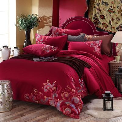 罗优家纺全棉刺绣绣花四件套田园风被套床单床上用品 竹韵 1.5m(5英尺)床 憧憬