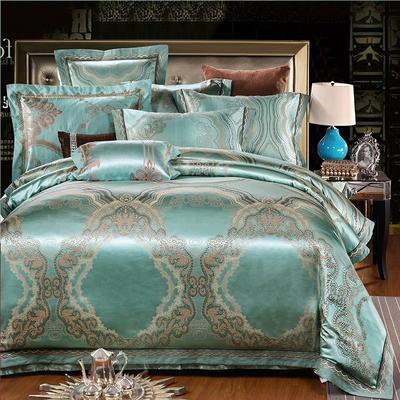 罗优家纺全棉贡缎臻彩丝三色提花四件套(可搭配靠垫成六件套) 1.5m(5英尺)床 靠垫/对