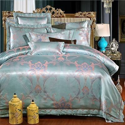 罗优家纺全棉贡缎臻彩丝三色提花四件套(可搭配靠垫成六件套) 2.2m(7英尺)床 安吉丽娜-浅宝蓝