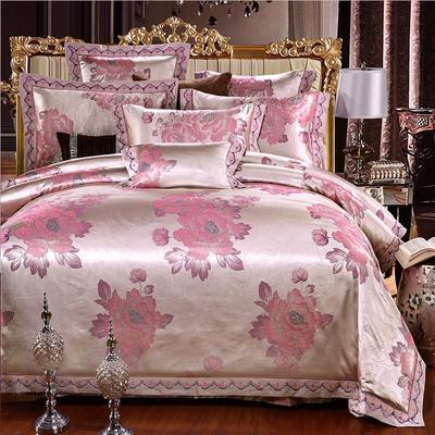 罗优家纺全棉贡缎臻彩丝三色提花四件套(可搭配靠垫成六件套) 2.2m(7英尺)床 国色天香