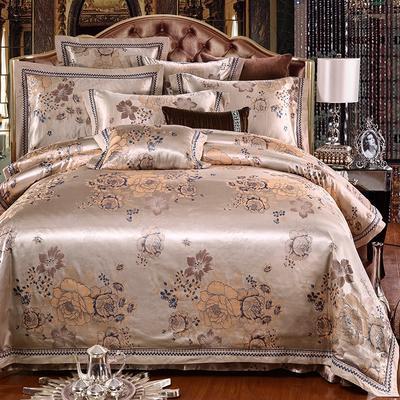 罗优家纺全棉贡缎臻彩丝三色提花四件套(可搭配靠垫成六件套) 1.5m(5英尺)床 满园春色