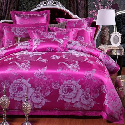 罗优家纺全棉贡缎臻彩丝三色提花四件套(可搭配靠垫成六件套) 1.5m(5英尺)床 漫舞天地-玫红