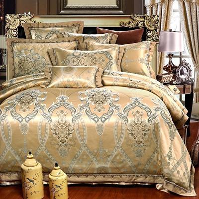 罗优家纺全棉贡缎臻彩丝三色提花四件套(可搭配靠垫成六件套) 1.5m(5英尺)床 摩登风尚-金驼
