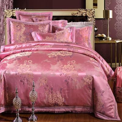 罗优家纺全棉贡缎臻彩丝三色提花四件套(可搭配靠垫成六件套) 1.5m(5英尺)床 沁香花语--浅樱红