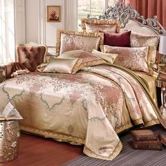 罗优家纺臻彩丝三色提花四件套(搭配靠垫六件套}德尔菲之恋宝兰 1.8m(6英尺)床 -经典纳兰-米驼