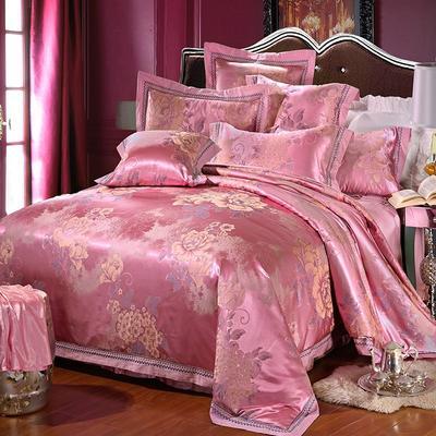 罗优家纺臻彩丝三色提花四件套(搭配靠垫六件套}国色天香 2.2m(7英尺)床 沁香花语--浅樱红