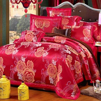 罗优家纺臻彩丝三色提花四件套(搭配靠垫六件套}国色天香 2.0m(6.6英尺)床 韵美-大红