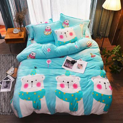 爆款 加厚法萊絨四件套【有同款:雪花絨四件套水晶絨四件套法萊絨被套雪花絨被套金貂絨魔法絨寶寶絨】 1.0m(3.3英尺)床三件套 北極熊