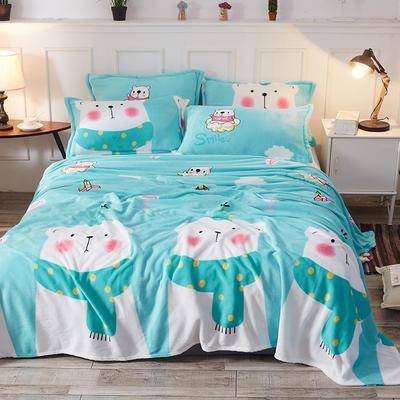 2019新款-法萊絨毛毯法蘭絨毛毯禮品毯小毛毯贈品毯 70X100cm【隨機花色】 北極熊