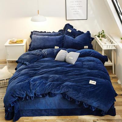 2019新款 加厚寶寶絨四件套水晶絨四件套法萊絨四件套雪花絨魔法絨 1.5m(5英尺)床 藏藍