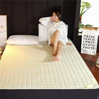2019新款 保暖可機洗磨毛床墊 舒適薄床墊 90x200cm 米黃