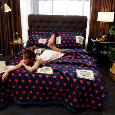 2019新款 水晶絨床蓋夾棉床蓋多功能床蓋夏被地毯床單 配套的枕套一對 幸福