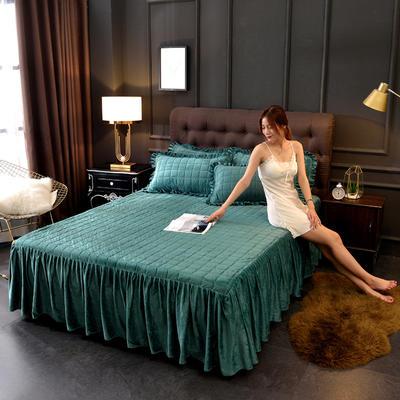 2019新款 水晶絨夾棉床裙絎縫床裙 配套的枕套一對 墨綠